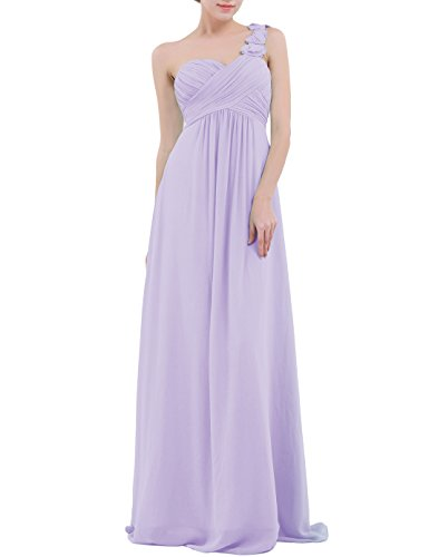 YiZYiF Chiffon Applique One Shoulder Long Bridesmaids Party Dress Lavender 12