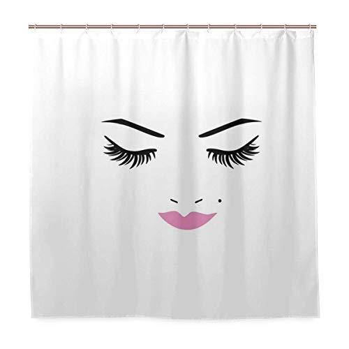 "Makeup Gold Lips Purple Eyebrow Black Girl Bathroom Shower Curtain Liner 72x72/"""