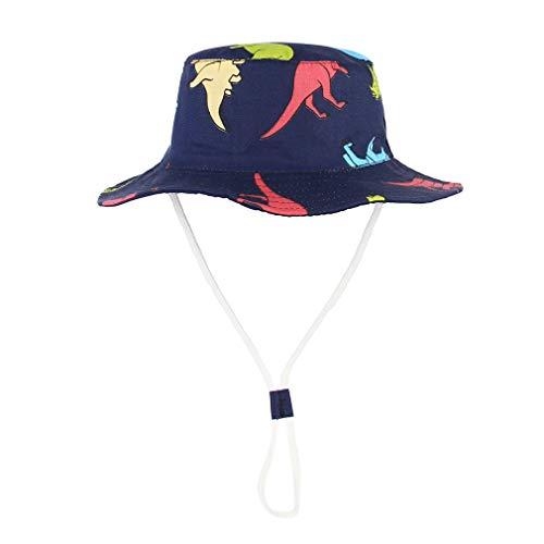 GEMVIE Gorra Bebe Niño Sol ala Ancha Verano Algódon Playa/Aire Libre Unisexo Estampado Dinosaurio Pescador Sombrero UV50+ (Marino Dinosaur, 2-4años)