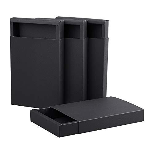 BENECREAT 10 Pack Caja de Cajón de Papel Kraft 20x15x3cm, Caja de Cartón Negro para Joyería, Dulces,Cajas de Regalo Pequeñas para Envolver Regalos, Navidad, Boda, Favores de la Fiesta