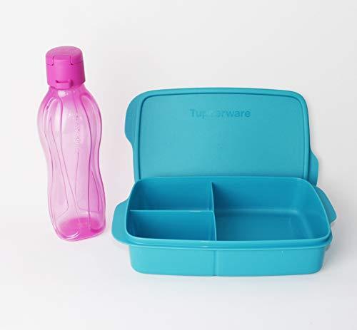 Clevere Pause TUPPERWARE Lunchbox 1L Türkis + EcoEasy Trinkflasche to go 500ml Rosa Clipverschluss + Kiwilöffel