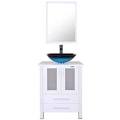 "eclife 24"" Bathroom Vanity and Sink Combo White Small Vanity Turquoise Square Tempered Glass Vessel Sink & 1.5 GPM Water Save Faucet & Solid Brass Pop Up Drain, With Mirror (A10B02W)"
