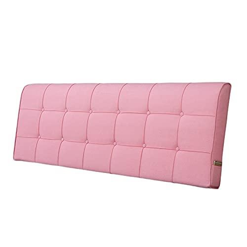 pujindu Respaldo Grande Almohada Cojín Cama, Largo Cuña Soporte para Espalda Almohada, 6cm Espesor Lleno Esponja Almohadillas Lumbares para Daybed Sofá, Retirable (Color : Pink, Size : 200x6x58cm)