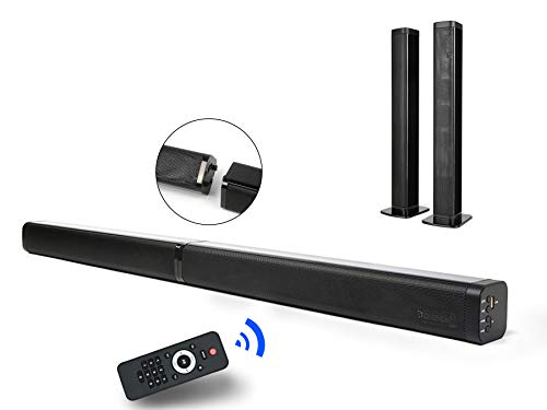 2 in 1 Sound Bar for TV, 37-Inch Separable Soundbar 2.0 Channel Wired & Wireless Bluetooth TV Speakers V5.0 + EDR Dual Stereo AUX/USB Connection with 4 Driver Speakers, Black-in Subwoofers
