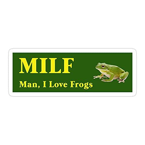 (3 Pcs Pack) Milf Man I Love Frogs 3x4 Inch Die-Cut Stickers Decals for Laptop Window Car Bumper Helmet Water Bottle