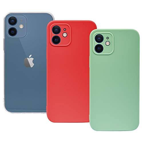 Weideworld [3 Pack] Cover per iPhone 12 Mini 5.4' (Trasparente+Rosso+Verde), Ultra Sottile Custodia Morbida in Silicone [Protezione Fotocamera] Cover per iPhone 12 Mini