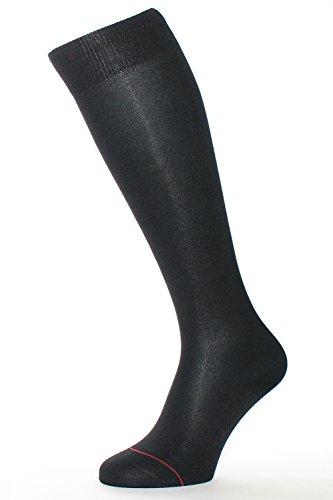 ALBERT KREUZ Herren Kniestrümpfe Premium merzerisierte Baumwolle Fil d'Écosse rutschfrei 1 Paar Schwarz Gr. 48-50
