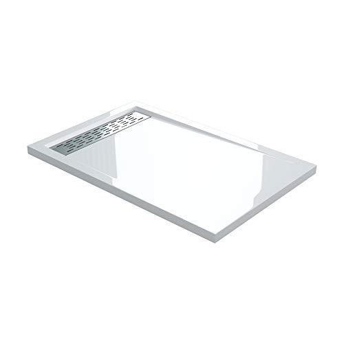 Sogood Duschtasse Duschwanne Xetro04W 90x120x5 flach in Weiß Rechteckig DIN-Anschlüsse für bodenebene Montage geeignet