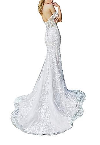 Damen Schulterfrei Spitze Perlen Meerjungfrau Hochzeitskleider mit Zug, trägerlos Brautkleid Ballkleid Gr. 52, weiß
