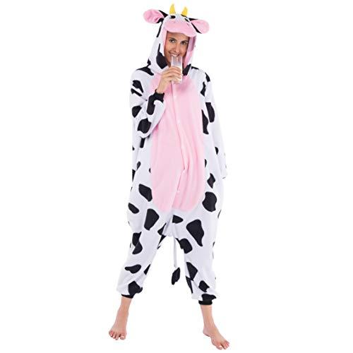 Spooktacular Creations Disfraz de Animal Adulto Unisex Pijama de Felpa Pijama de una Pieza de una Pieza de Vaca (Medium)