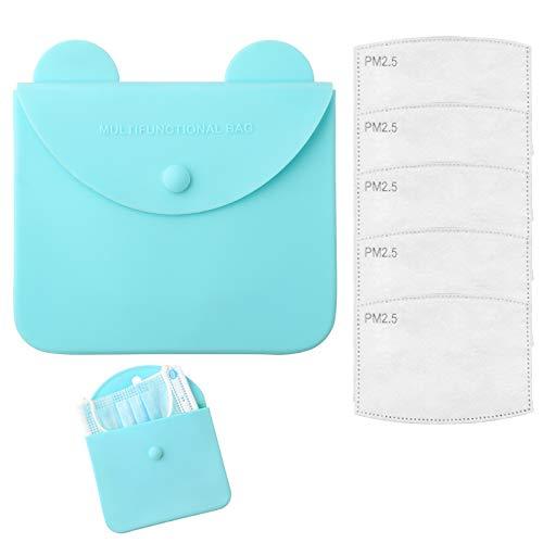 DZSEE Tragbare Masken-Aufbewahrungstasche +5pcs Austauschbare Filter, Staubmasken-Aufbewahrungsbox zur Vermeidung von Maskenverschmutzung, ohne M-as-ke