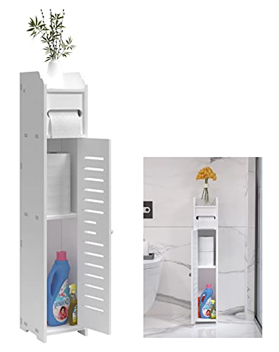 Doxo Small Bathroom Cabinet Storage Cabinet Floor Cabinet with Doors and Shelves,Bathroom Organizer Shelves,by The Toilet Organizer White