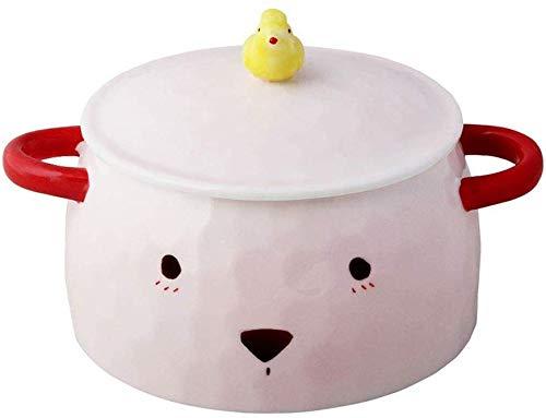 Yinuo Grande capacité en céramique bol de nouilles avec couvercle avec poignée de fruits mignon Saladier étudiants bol de riz Boîte Couverts [5,6 pouces] (Color : 6911900000)