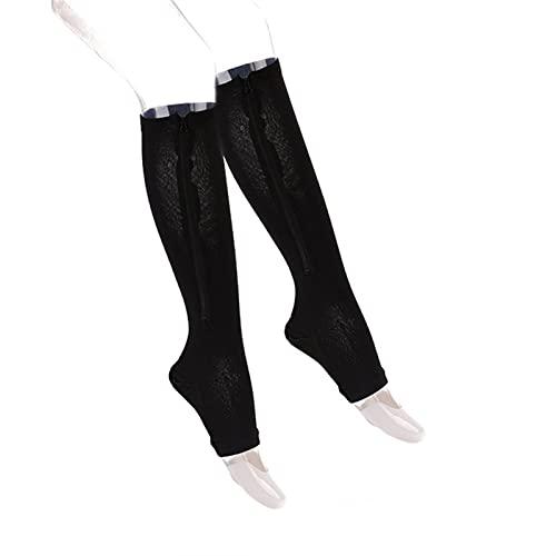 1 par de calcetines de compresión Soporte Unisex Soporte de rodilla Cremallera Calcetines Mujer Punta abierta Fina antifatiga Calcetines de calcetines de calcetines (Color : Black, Size : XX-Large)