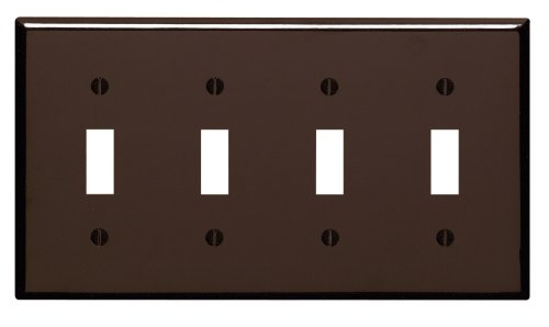Leviton 85012 4-Gang Toggle Device Switch Wallplate, Standard Size, Thermoset, Device Mount, Brown