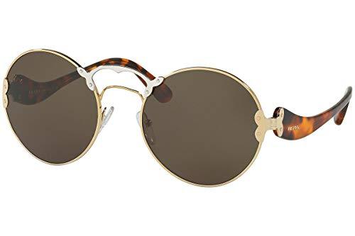 Prada PR55TS Sonnenbrille Pale Gold Silber Mit Grünem Graue Gläsern ZVN4J1 SPR55T PR 55TS SPR 55T