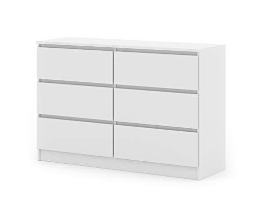 BIM Furniture Kommode mit 6 Schubladen Maya M6 120 cm Sideboard Highboard Mehrzweckschrank Schlafzimmer Wohnzimmer