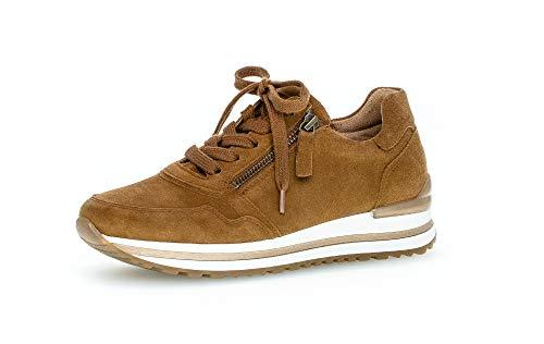 Gabor Damen Sneaker, Frauen Low-Top Sneaker,Comfort-Mehrweite,Reißverschluss,Optifit- Wechselfußbett, straßenschuhe Turnschuhe,Deer,38 EU / 5 UK