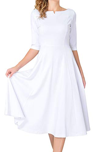 Marycrafts Women's Fit Flare Tea Midi Dress for Office Business Work 18 Off White