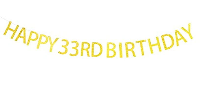 Happy 33rd Birthday Banner Gold Sparkling Letters for 33rd Birthday Party Decorations