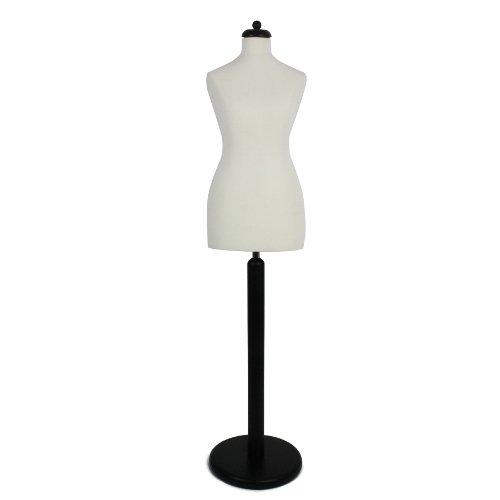 DPS Shopfitting Damen Schneiderbüste, Bezug Creme Weiß, Rundfuß Ständer Schwarz