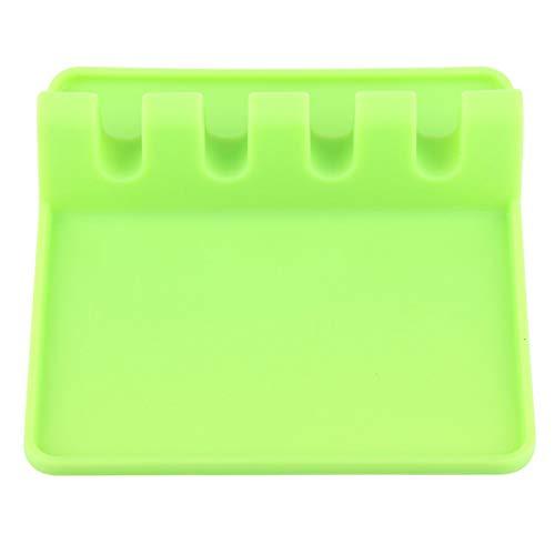 Soporte de cocina de silicona duradero, herramienta de cocina de silicona resistente al calor, resto de silicona para utensilios saludable y fácil de limpiar, cocina para(green)