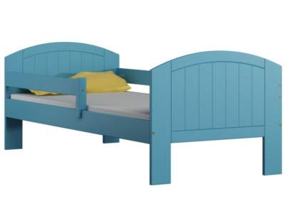 LEA Funktionsbett Kinderbett Einzellbet Massivholz Schublade Lattenrost Rausfallschutz (180x80, Blau)