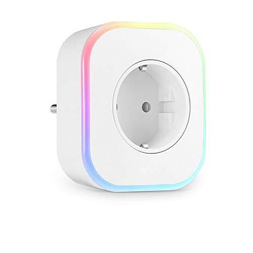 Enchufe Wifi, Control Remoto/Mando de Voz, Luces de Ambiente Colorido, Temporizador Enchufe, Compatible con Google Home/Amazon Alexa/Android/IOS (paquete de 1 estándar europeo)