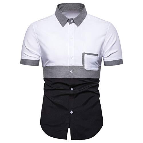 Camisa Hombres Verano Slim Fit Hombres Manga Corta Botones A Juego Moda Camisa Bolsillo Hombres Camisa Clásica Básica Negocios Casual Hombres Camisa Henley A-White M