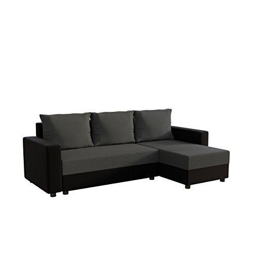 Mirjan24 Ecksofa Vibo! Eckcouch Sofa mit Bettkasten und Schlaffunktion! L-Form Couch, Ottomane Universal, Farbauswahl, Schlafsofa vom Hersteller (Alova 04 + Alova 36)