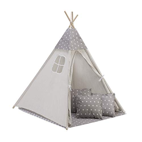 Amazinggirl Play Mat with Cushion Cover and Decorative Cape for Kids Teepee wigwam Tent for children Gray / White with Stars Mat + 3 Pillow Cover + Cape (no tent)