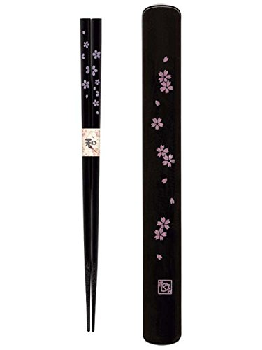 Happy Sales HSKS7/B, Travel Chopstick with Case, Black Pink Sakura Cherry...