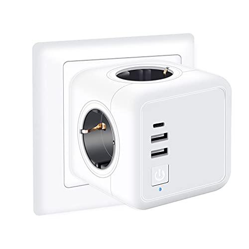 Enchufe USB, 8 en 1 Cubo Ladron Enchufes Triple con 3 Puertos de USB y 4 Tomas(5V, 3,1A), Enchufe USB Pared Cubo Enchufes sin Cable con Interruptor, Adecuado para Material de Oficina Familias y Viajes