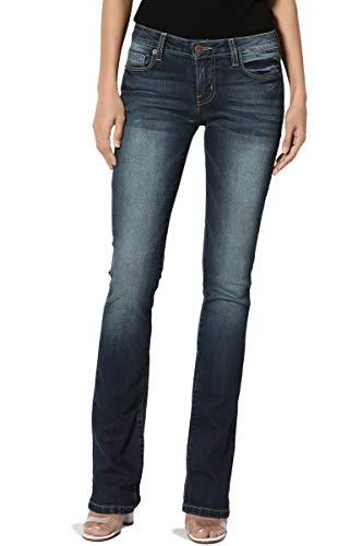 TheMogan Women's Washed Stretch Denim 32 Mid Rise Slim Boot Cut Jeans Dark 5