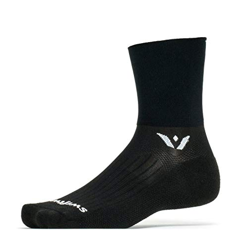 Swiftwick ASPIRE FOUR Trail Running & Cycling Socks, Compression Fit (Black, X-Large)
