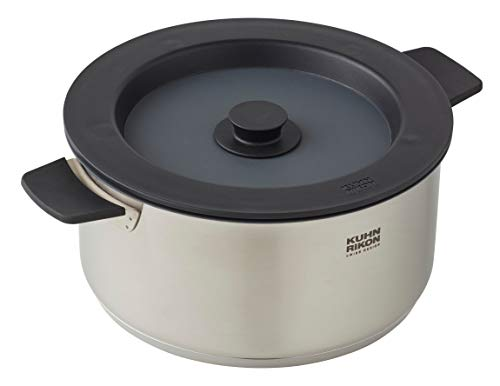 KUHN RIKON Smart & Compact Oven-Safe Induction Nesting Casserole Pot with Magnetic Lid, 5 Litre/24 cm, Stainless Steel, Silver and Black