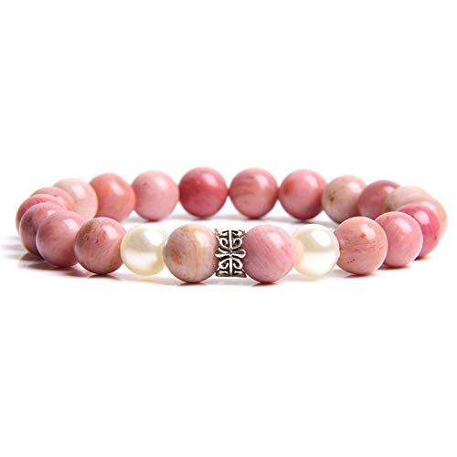 shenlanyu Pulsera para mujer, color rosa natural, con piedras preciosas de rodocrosita, para regalo de joyería para mujeres y niñas.