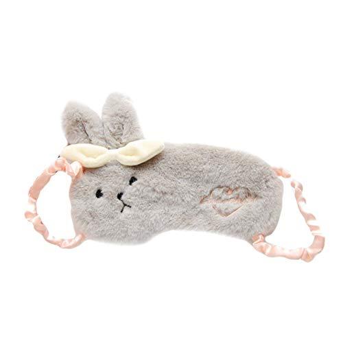 hou zhi liang Reizende Tier-Napping Augenmaske Plüsch Augenabdeckung Grauen Kaninchen-Maske Geformt Weiche Reiseschlafmaske Blindfold Adjustable Flugzeug Eyeshade Blinder