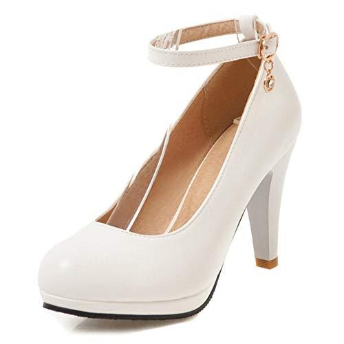 StyliShoes Damen Dress Pumps Absatz Fesselriemen Schuhe (Weiß, 44 EU)