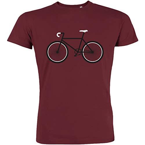 MadCotton Herren T-Shirt, Bike, Bio-Baumwolle, Fair gehandelt (Burgundy, M)