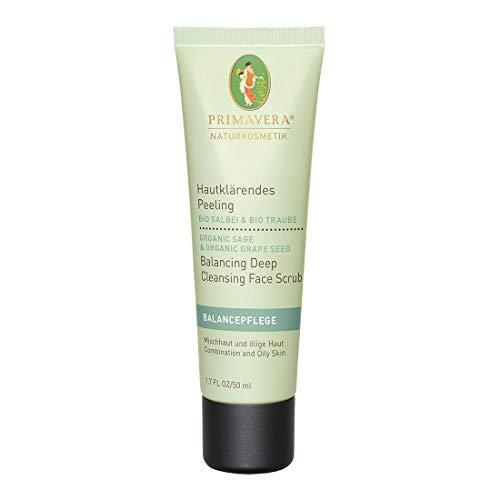 PRIMAVERA Balancepflege Hautklärendes Peeling Salbei Traube 50 ml - Naturkosmetik - Vorbeugung gegen Pickel und Mitesser bei öliger Haut und Mischhaut - vegan