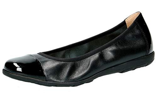 CAPRICE 22152-22 Damen KlassischeBallerinas,Flats,Sommerschuh,klassisch elegant,(33) Black NAP/PAT,40 EU