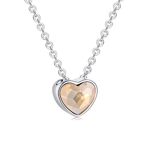 S925 Sterling Silver Tiny Heart Necklaces for Little Girls Small Heart Choker Pendants Jewelry Necklace with Letter Love Embellished Crystal Birthday Gifts for Teen Girls Kids