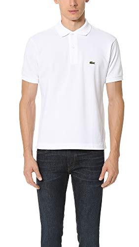 Lacoste Men's Short Sleeve Pima Jersey Interlock Regular Fit Polo, White, L