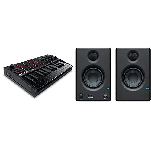 Akai Professional Mpk Mini Mk3 Black Teclado Controlador Midi Usb De 25 Teclas Con 8 Drum Pads, 8 Perillas Y Software De Producción Musical Incluido, Negro + Presonus Eris E3.5 (Par) Studio Monitor