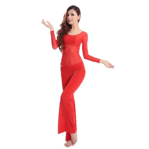 Veni Masee Set costume per danza del ventre, con maglia a maniche lunghe, prezzo per set Rot Taglia unica