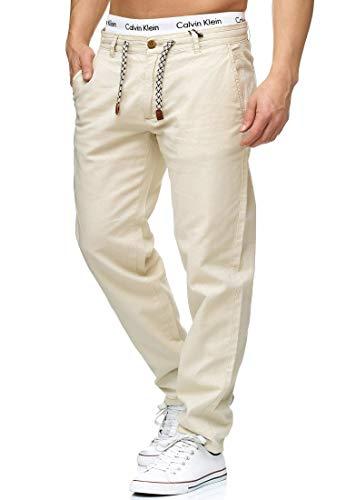 Indicode Herren Boulware Stoffhose aus Leinen & Baumwolle mit 4 Taschen | Lange Regular Fit Hose Herrenhose Baumwollhose Tunnelzug mit Kordel Leinenhose Freizeithose für Männer Fog XL