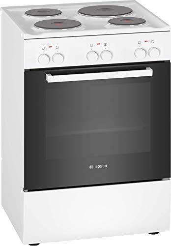 Bosch HQA050020 Serie 2 Freistehender Elektroherd / A / 60 cm / Weiß / Klapptür / Zylinderknebel / 5 Beheizungsarzten / Masse-Kochplatte