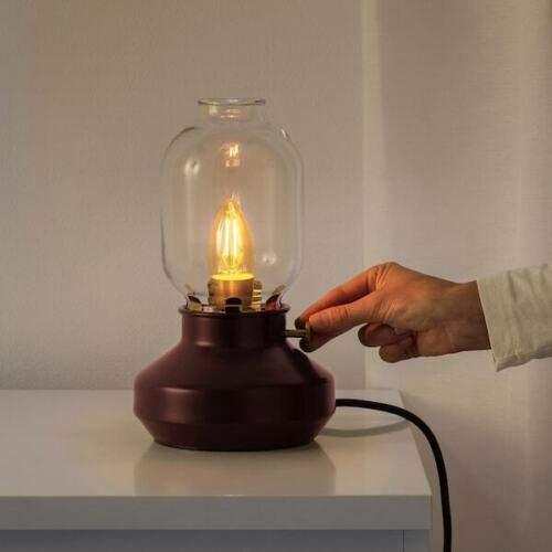 IKEA TARNABY Dimmable Table Lamp (No Bulb) Steel Glass Retro Lantern Dark Red