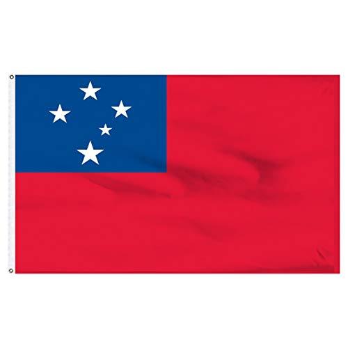 SHATCHI 11218 Große Samoa-Nationalflagge, Premium-Qualität mit Metallösen, Samoan-Fans, Rugby 2019, WM Sport, Event, Fußball, Dekoration, Party-Accessoire, Mehrfarbig